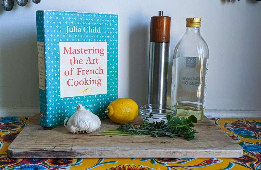 Julia Child's Mastering the Art of French Cooking and ingredients for marinade simple
