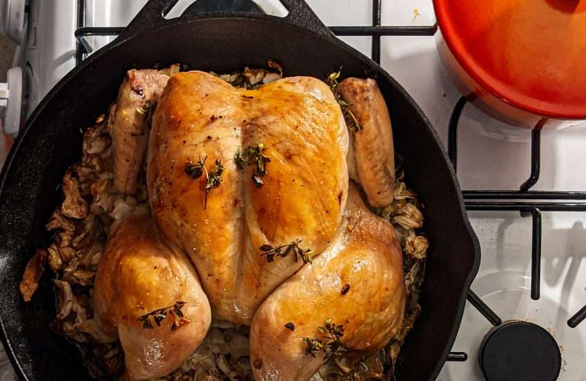 Roast Spatchcocked Chicken and Cabbage