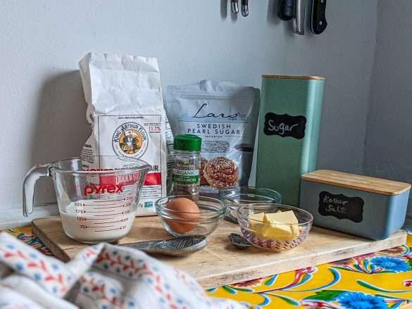 Ingredients for Voisilmäpulla (Finnish Butter-Eye Buns)