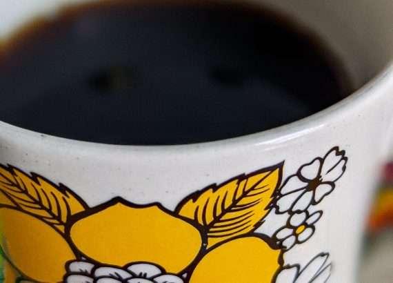 vintage mug with pour over coffee