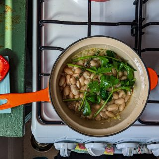 Lunchtime brothy-ish beans and greens comes together faster than delivery can arrive. Bright, healthy, and endlessly versatile, makes for a perfect work-from-home lunch.  Post includes recipe and video. Link in bio.